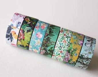 Set of 7 Floral Washi Tapes/ Floral Washi Tape/Striped Washi / Masking tape/ japanese washi tape/Planner Supplies