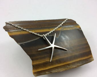 Sterling silver starfish necklace, silver starfish necklace,modernist pendant,  modernist starfish, beach jewelry