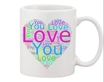 Heart Shaped Love You Word Cloud Mug.
