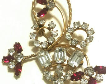 14kt GF Gold Filled Red Rhinestone Brooch Pendant Pin C