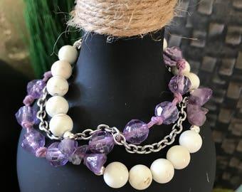 3 strand white/purple bracelet