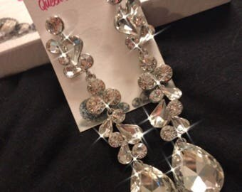 Clear Long Crystal Chandelier Earrings 4 Inches Length