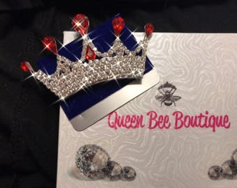 Pageant Pin Red and Clear Crystal