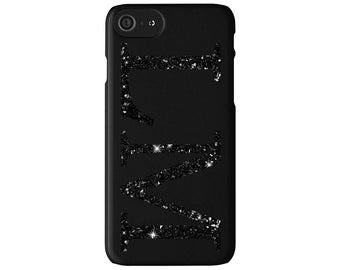Personalised GLITTER initials Matte Black Phone Case Cover for Apple iPhone 5 6 6s 7 8 Plus & Samsung Galaxy Customized Monogram