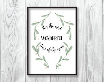 Christmas Print | It's The Most Wonderful Time Of The Year | Christmas Decoration