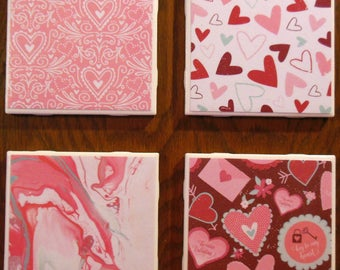 Coasters Valentines Day Gifts Hearts Cup Holders Marbled Ceramic Home Decor Be My Valentine Drinks Furniture Protect Key To My Heart