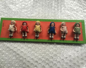 Antique Hertwig & Co. Pattern Card with Miniature Bisque Dolls