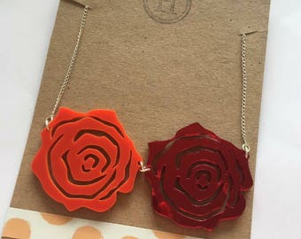Two Red Rose Flower Garden Necklace