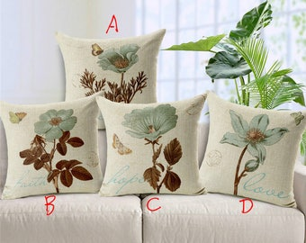 Froral Printed Square Throw Pillow Covers Pillowcases Cushion Covers