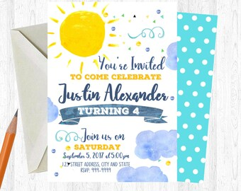 Sunshine Birthday Invitation, Sunshine Invitation, Sunshine Invite, birthday invite, Birthday Party, Sunshine Printable Invitation