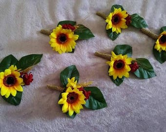 Set of 6 silk sunflower and burlap boutineers