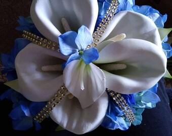Silk cala lily and blue hygandrea bouquet