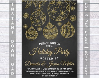Holiday Invitation, Holiday Party Invitation, Christmas Invitation, Christmas Party Invitation, Instant Download, chalkboard
