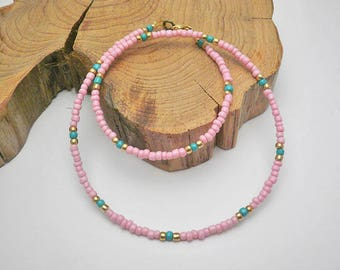 Pink chocker,Pink Beaded choker necklace,seed bead necklace,delicate necklace,dainty  pink necklace,dainty beaded choker,minimal choker