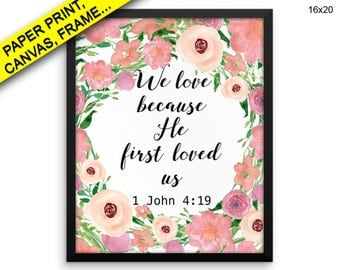 Script Canvas Art John Printed Script Framed Art John nursery bible verse christian decor 1 john 4 19 watercolor wreath he first loved Decor
