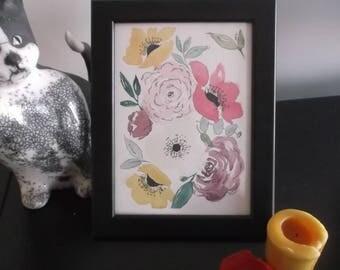 Tableau fleurs à l'aquarelle, encadré