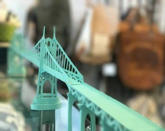 City Gems St Johns Bridge Architectural Paper Model, Model, Kit, Puzzle, Architecture, St Johns, St John, Portland, OR, Bridgetown, Oregon