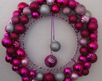 Double Pink and Silver Wreath