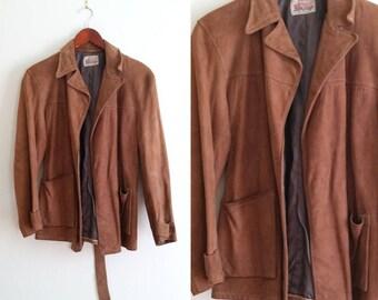 1970s suede jacket, brown suede jacket, brown leather jacket, retro leather jacket vintage camel brown jacket women's large