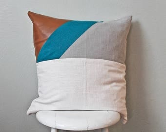 Modern Faux leather/Linen pillow cover