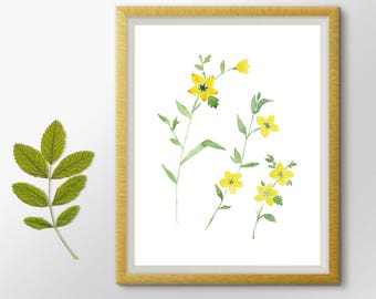 Botanical Print, Flowers Printable, Flowers Watercolor Painting, Floral Art, Flowers Print, Hand Drawn, Yellow flowers, Nursery art