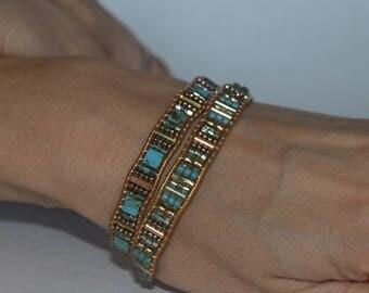Wrap Bracelet Turquoise Wrap bracelet, handmade,