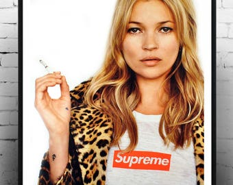 Kate Moss Supreme, Vintage, Photography, Print, Home Decor, Gift for her, fashion print,