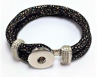Snap Button Leather Bracelet Black Noosa Bracelet, Leather Cuff, Black Leather Sparkle Bracelet for Noosa Snaps, USA Seller, 1 piece