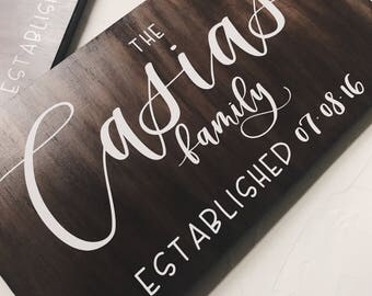 Wood Sign  // Family Name Sign // Handlettered