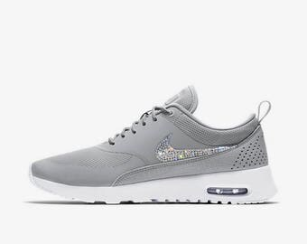 crystal Nike Air Max Thea Bling Shoes with Swarovski Crystal Women's Running Shoes Wolf Gray