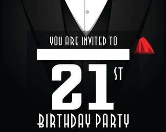 Men's 21st A6 Birthday Party Invitations