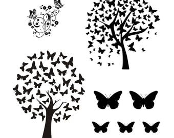 Tree of Life SVG Butterfly tree svg  set tree svg nature svgCricut Cameo Silhouette Cut file  SVG  digital download cutting machine  clipart
