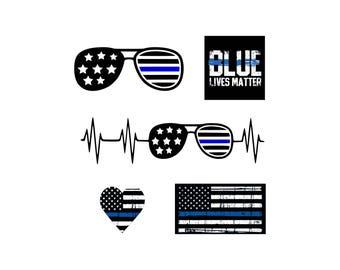 Blue Lives Matter svg Thin Blue Line svg Blue line svg Police Officer svg American Flag Police SVG  Police SVG Instant Download svg dxf