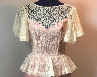 1970s Gunne Sax Peplum Dress