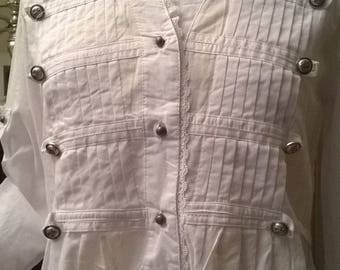 White long pleated cotton shirt