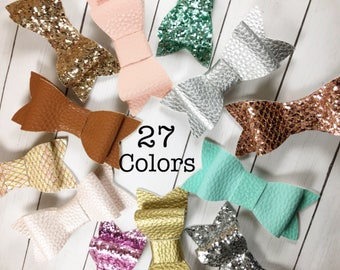 "Faux Leather Hair Bows 3"", Glitter Fabric Hair Bows, Leather Hair Accessories, Leather Hair Clip, Glitter Hair Bow, Sparkly Bows, 27 Colors"