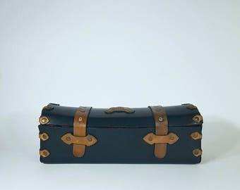 Wine Box - Leather box for wine - Black wine box - Handmade.