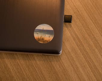 Beach Circle Sticker | Laptop Sticker | Oil Panting