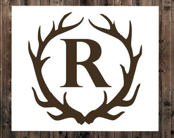 Antler Decal, Antler Monogram Decal, Yeti Antler Decal, Initial Decal, Personalized Antler Decal, Hunting Decal, Yeti Decal for Men