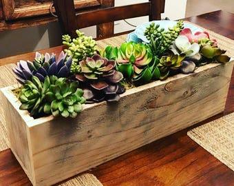 Succulent Arrangement in Rustic Planter Box