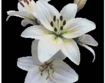 White Lily Cross Stitch Pattern