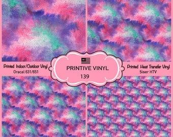 Colorful Watercolor Printed Pattern Vinyl/Siser HTV/ Oracal/ Indoor Vinyl/ Outdoor Vinyl/ Heat Transfer Vinyl- 139