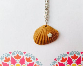 Shell - pendant - polymer clay necklace