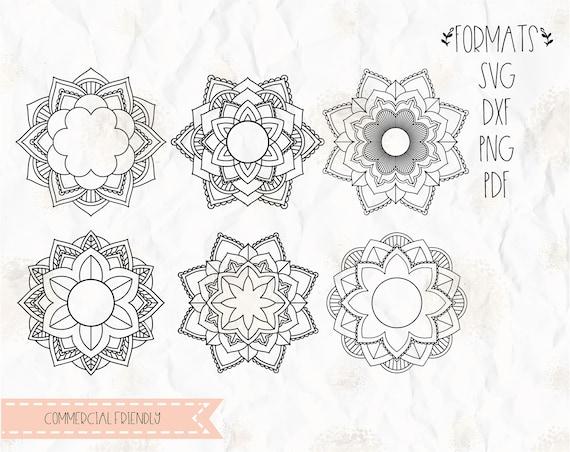 Mandala Flower Circle Monogram Frame Svg Layered Png