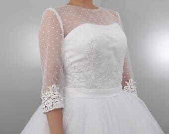 Retro feel vintage inspired polka dots illusion neckline tea length wedding dress with sleeves  Custom make for any colors