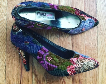 Frankie & Baby by Beverly Feldman Sequin and Bead Colorful Heels
