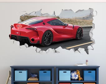 Car Toyota FT1 Wall Decal   Car Toyota Smashed Sticker   Car Sport 3D  Smashed Art