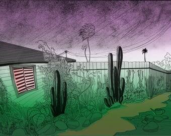 Garden Ghost - Illustration Art Print, Digital Print, Drawing, Fantasy Art, Sci Fi
