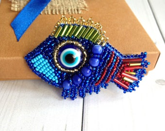 Fish brooch Blue jewelry  Cat eye Gift for her Stone Women gift Beadwork Stone jewelry  gift Birthday Fulfills wishes)
