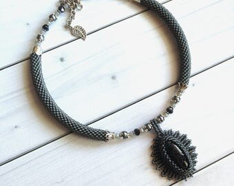 Gray necklace Agate pendant Black agate Stone women gift Elegant Gemstone necklace Beadwork Stone Jewelry  Gift  for her